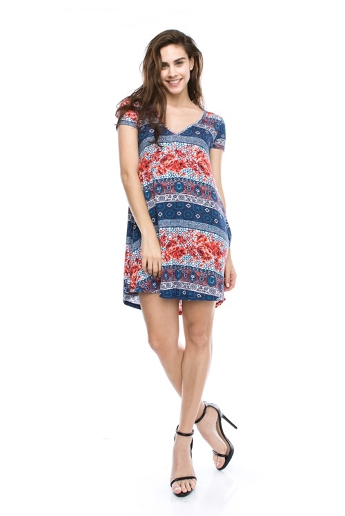 Print V Neck Dress - orangeshine.com