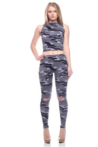 Camo Knee Cut Pants - orangeshine.com