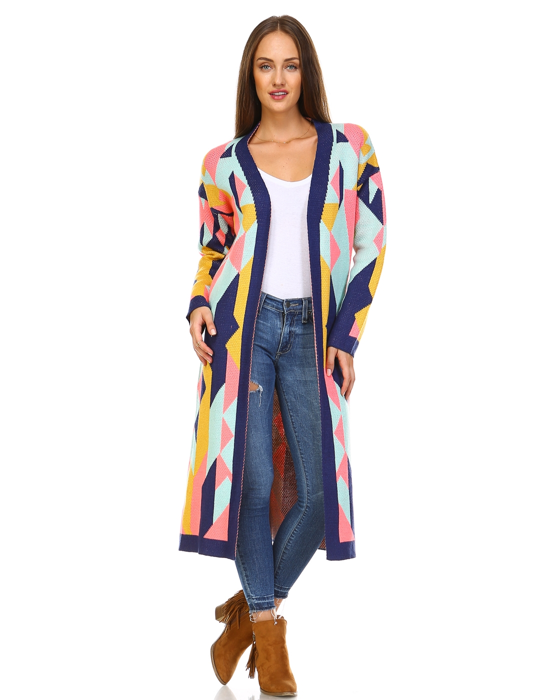 -Bohemian Multi-color Cardigan - orangeshine.com