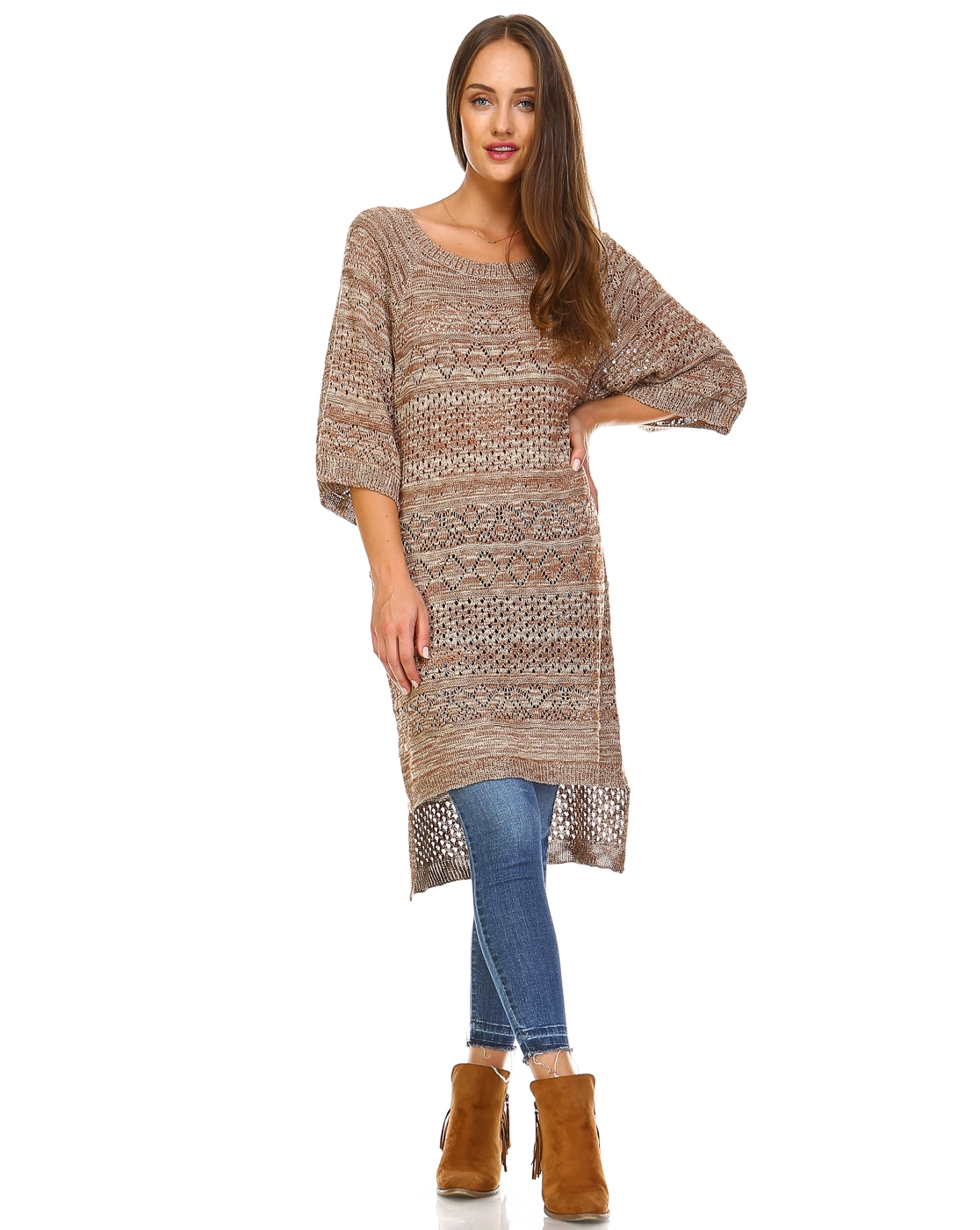 -Bohemian Knit Tunic Sweater - - orangeshine.com
