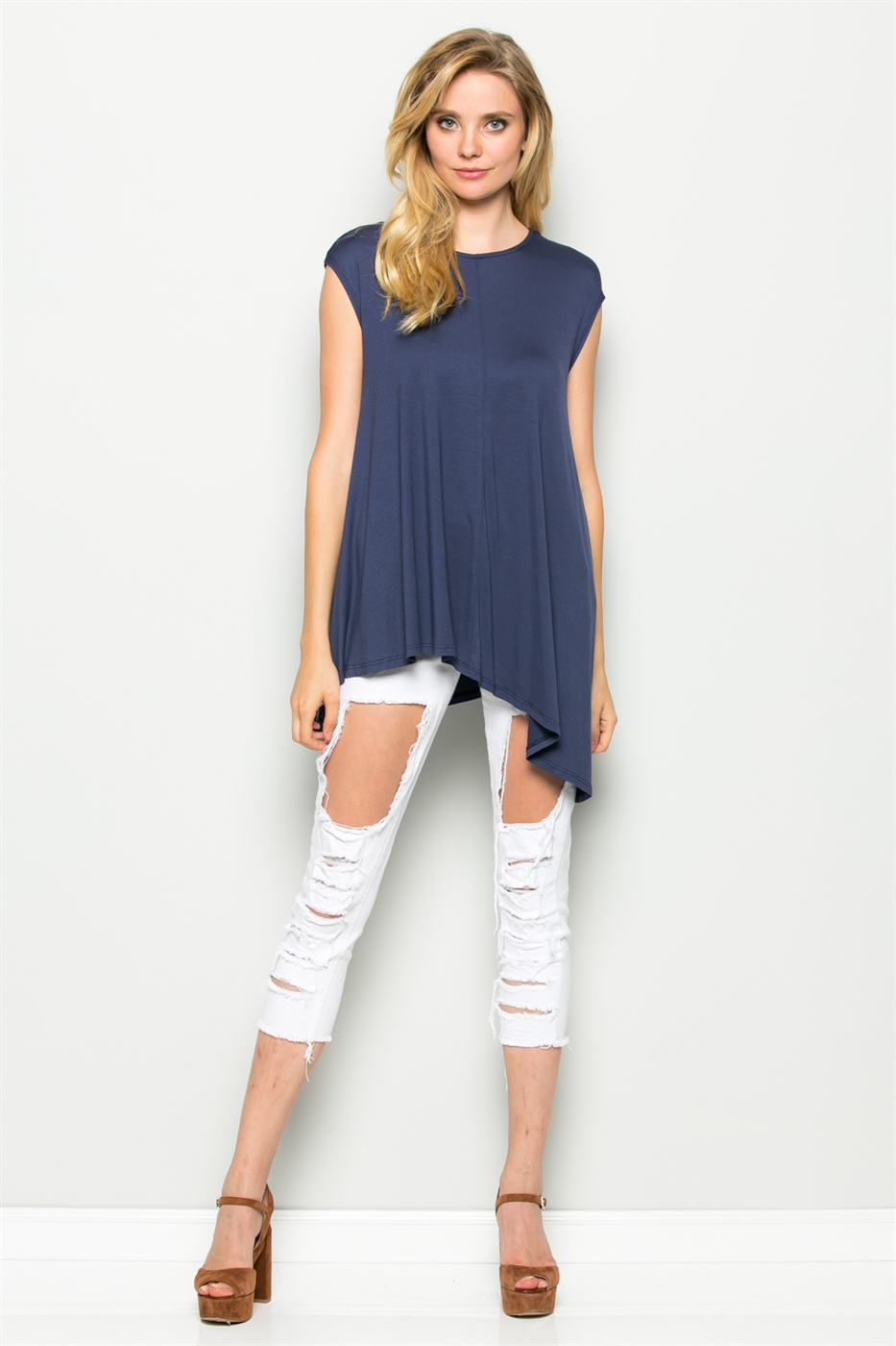 CAP SLEEVE TUNIC TOP - orangeshine.com