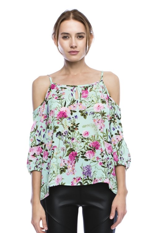 Floral Printed Cold Shoulder - orangeshine.com
