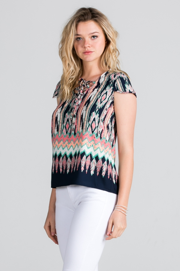 Tribal Print Lace Up Top - orangeshine.com