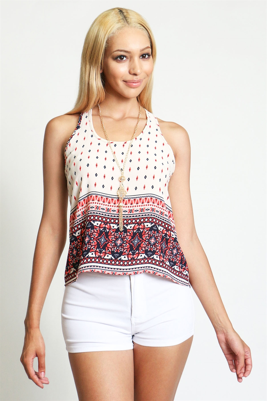 Sleeveless flowy chiffon top - orangeshine.com