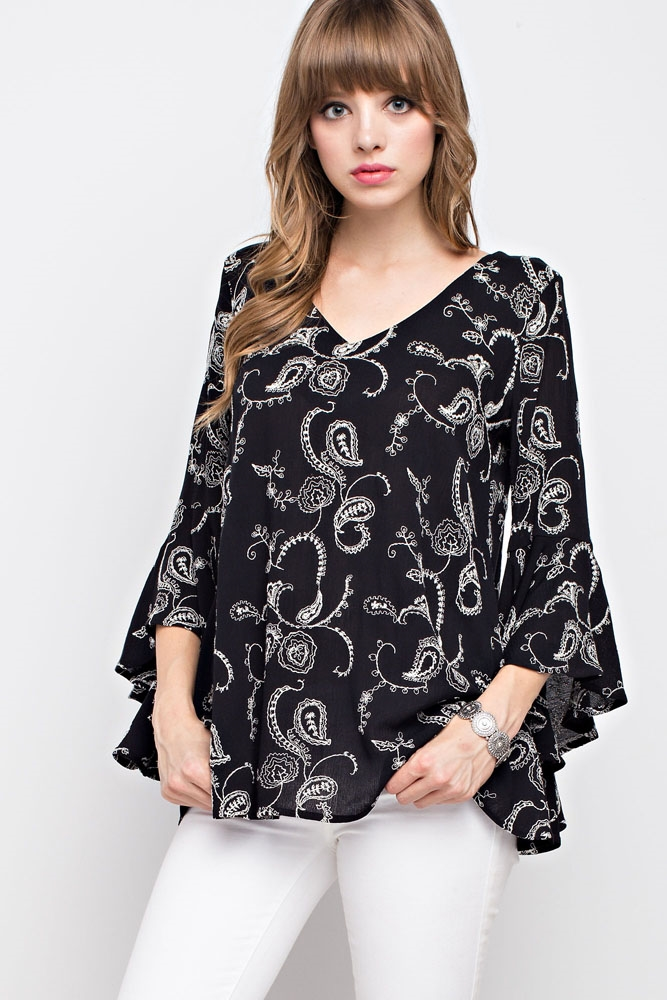 EMBROIDERED BELL SLEEVE TOP - orangeshine.com