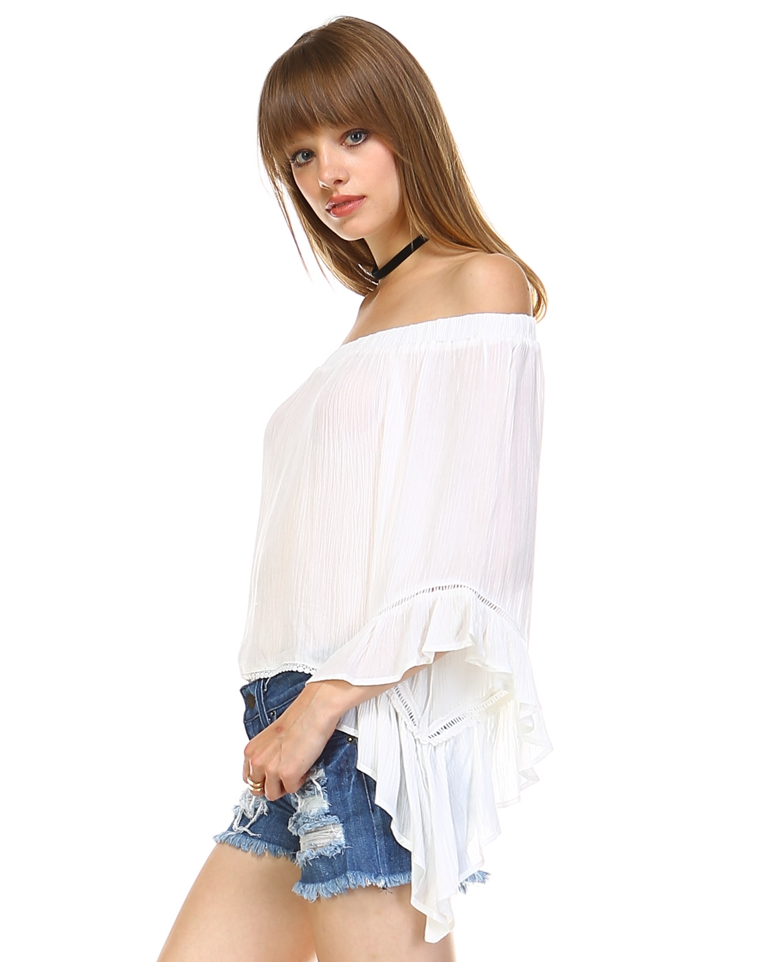 OFF SHOULDER BELL SLEEVED TOP - orangeshine.com