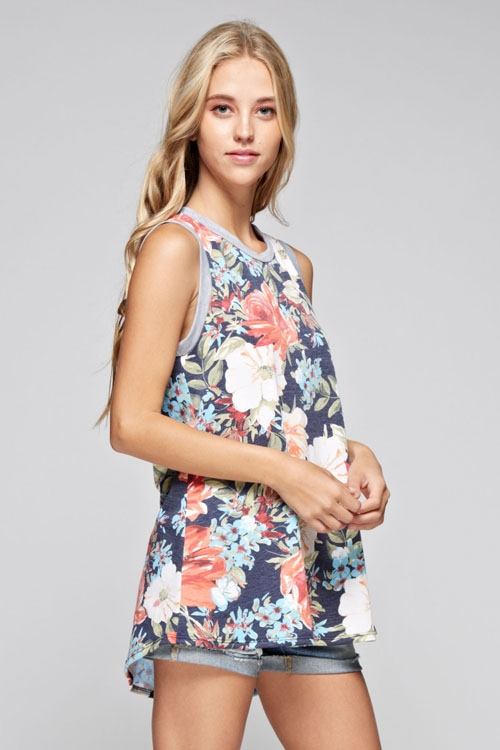 french terry floral print tank - orangeshine.com