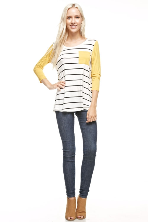 raglan sleeve striped top  - orangeshine.com