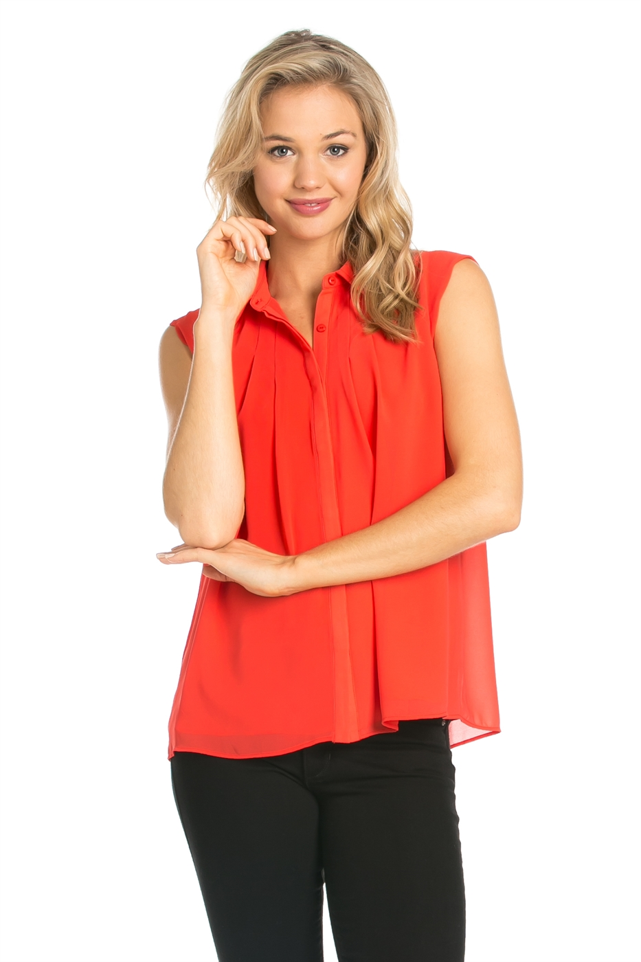 SCALLOPED SLEEVELESS TOP - orangeshine.com