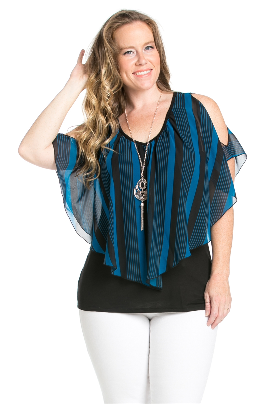 STRIPE PRINT COLD SHOULDER TOP - orangeshine.com