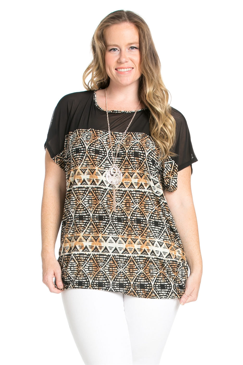 PLUS AZTEC SHORT SLEEVE TOP - orangeshine.com