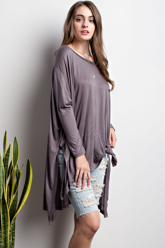 High Low Hem Over-sized Top - orangeshine.com