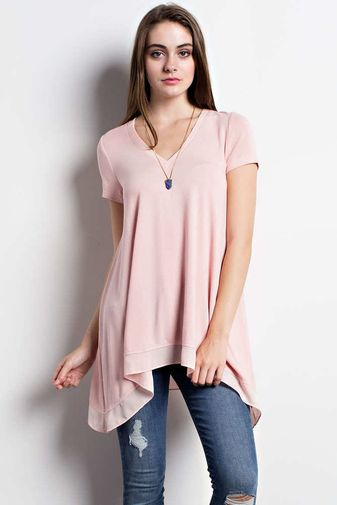 BASIC V NECK HEM DETAILED TOP - orangeshine.com
