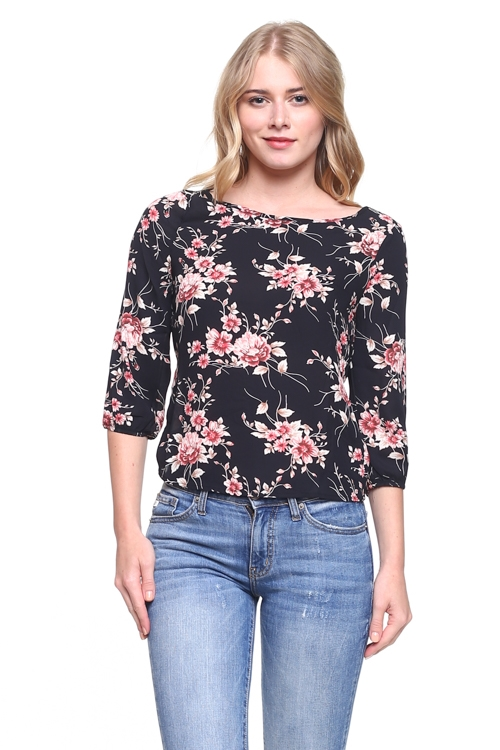 BOAT NECK FLOWER PRINT TOP - orangeshine.com