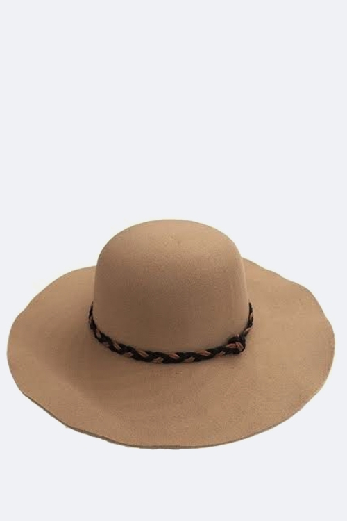 Braided Band Floppy Hat - orangeshine.com