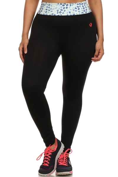 Plus Size Leggings Black Blue - orangeshine.com