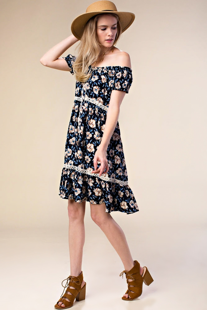 PRINT PEASANT SLEEVE DRESS - orangeshine.com
