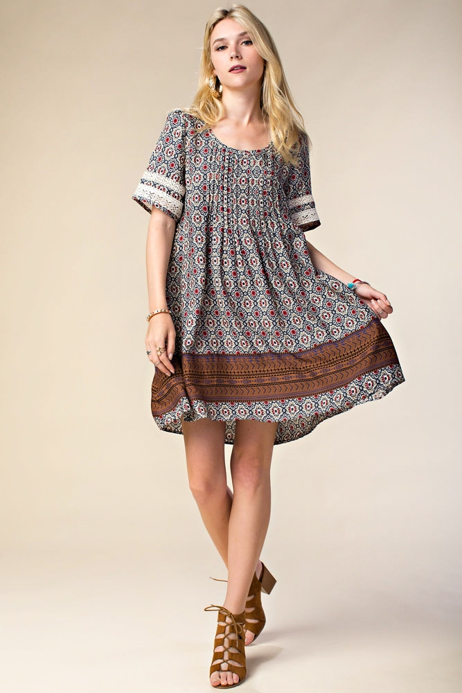 PIN TUCK DRESS W/ LACE DETAIL - orangeshine.com