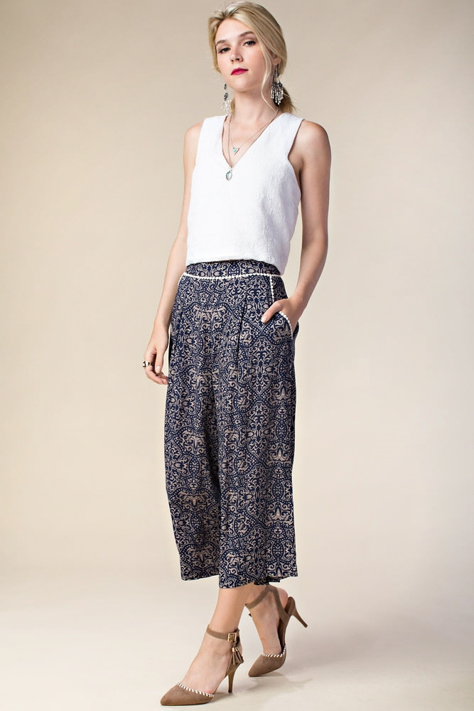 WIDE LEG PRINTED PANTS - orangeshine.com