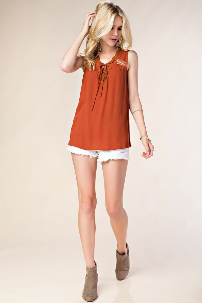 LACE UP SLEEVELESS SOLID TOP - orangeshine.com