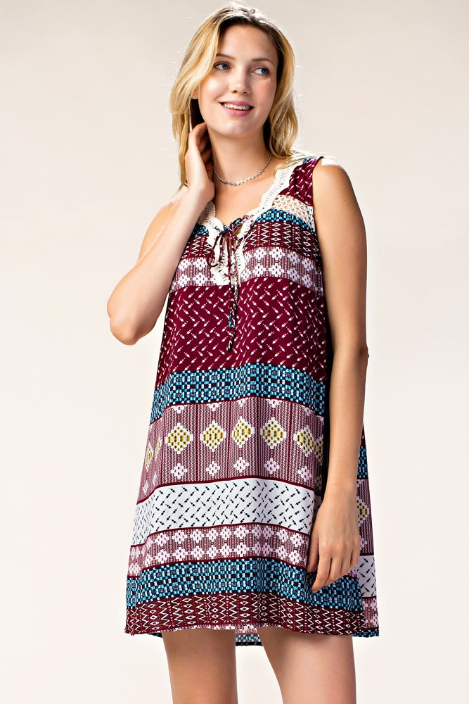 PRINT DRESS W/ LACE UP FRONT - orangeshine.com