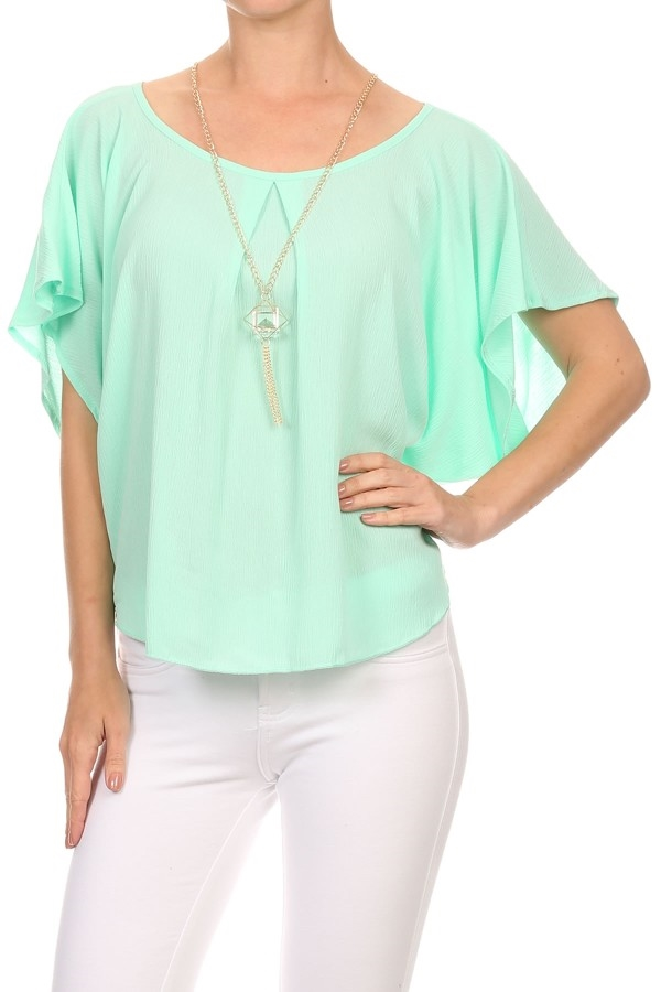 Flutter Tops Necklace Mint USA - orangeshine.com