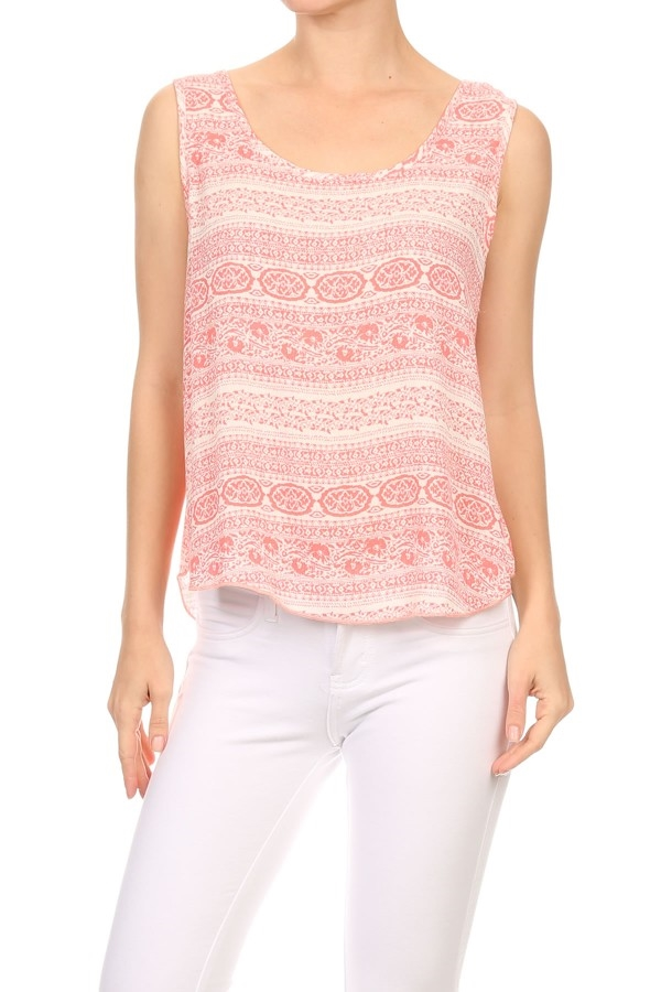 Bohemian print Tops Scoop Open - orangeshine.com