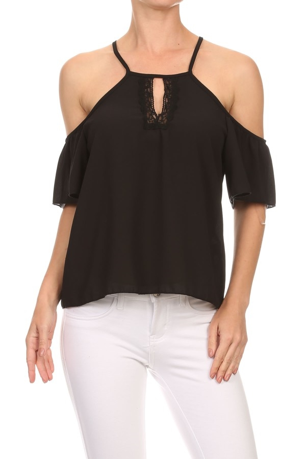 Ruffled Tops Black Shoulder US - orangeshine.com