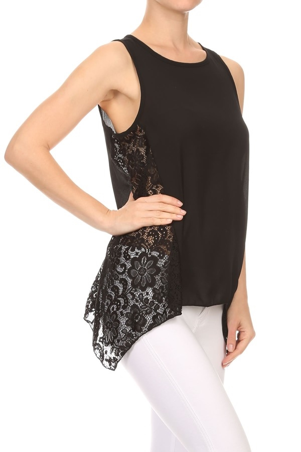 Lace Tops Shirts Black Boho  - orangeshine.com