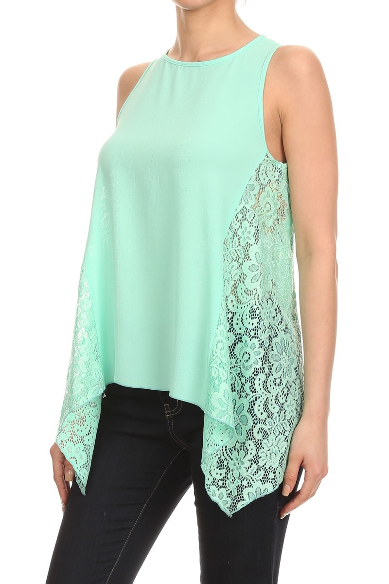 Lace Tops Shirts Mint Black - orangeshine.com