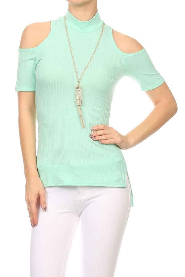 Shoulder Cutout Tops Coral USA - orangeshine.com