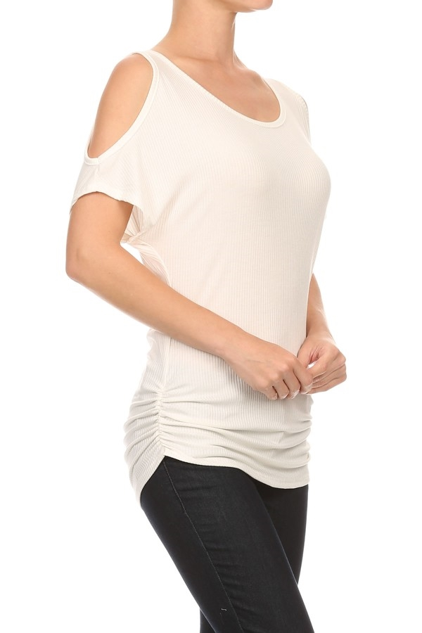 Shoulder Cutout Tops Ivory USA - orangeshine.com