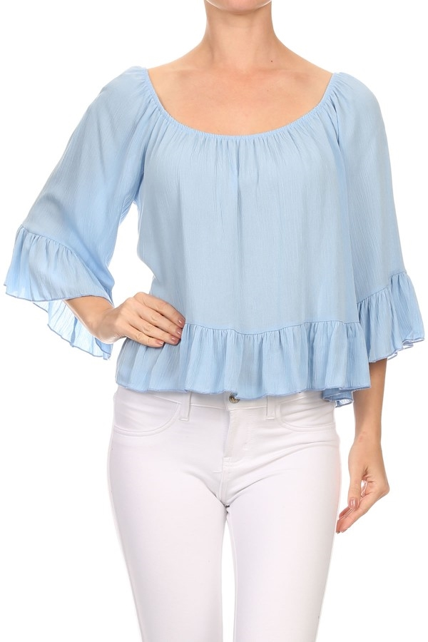 Ruffled Tops Aqua Boat Neck US - orangeshine.com