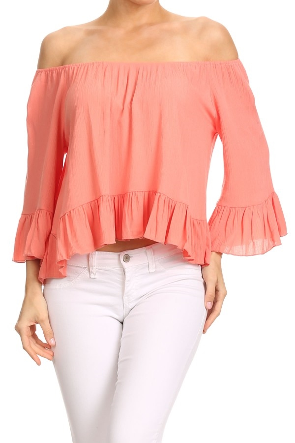 Ruffled Tops Boat Neck USA - orangeshine.com