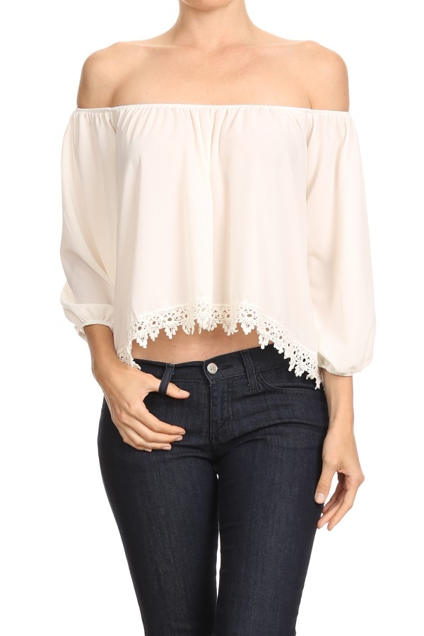 Crop Tops White Crochet Lace - orangeshine.com