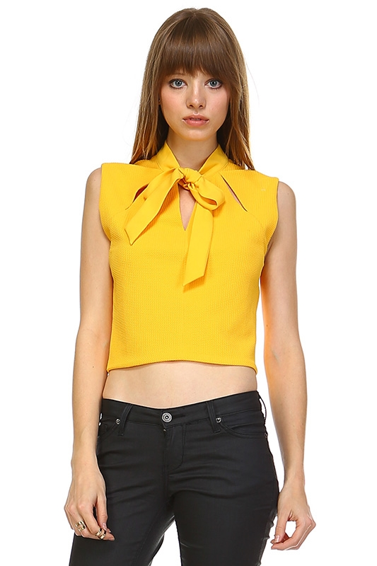 V-NECK CROP TOP WITH RIBBON - orangeshine.com