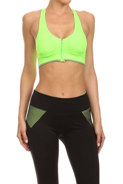 Neon yellow Active Bras Zipper - orangeshine.com
