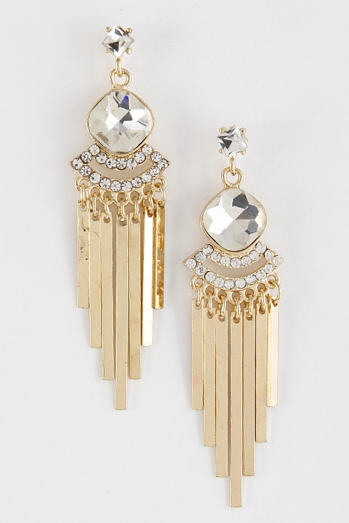 Rhinestone Drop Earrings - orangeshine.com
