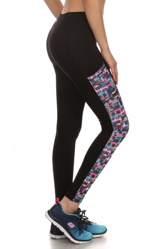 Print Side Panel Sport Legging - orangeshine.com