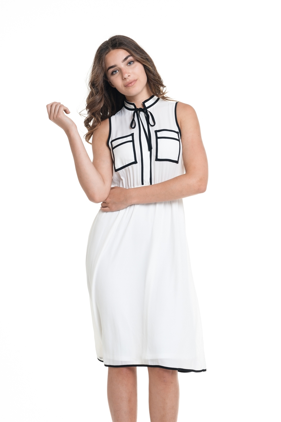 White outlined sleeveless midi dress - orangeshine.com