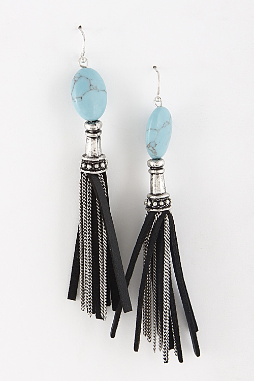 Tassel and Stone Earrings - orangeshine.com