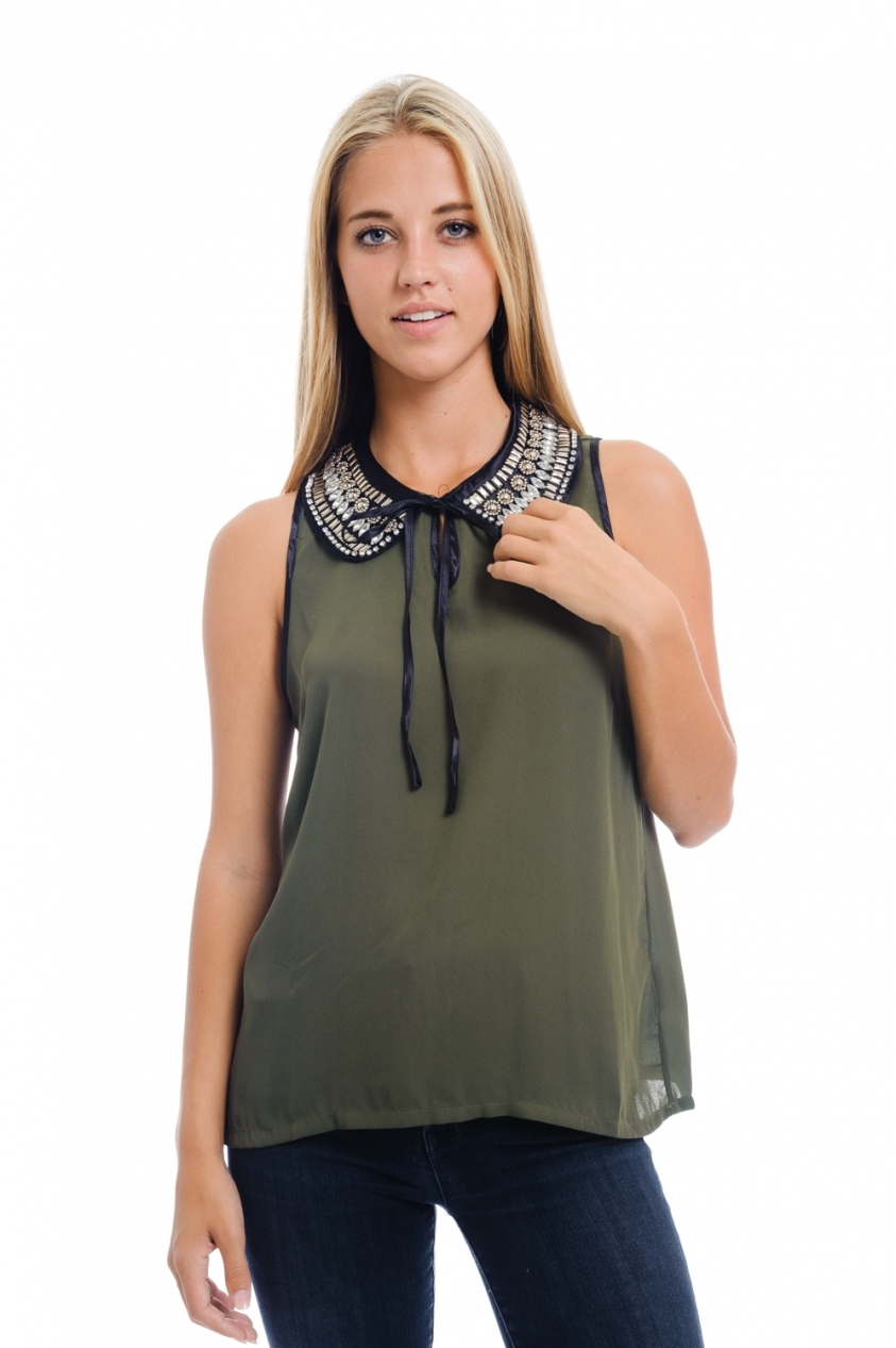 olive jeweled collar blouse - orangeshine.com