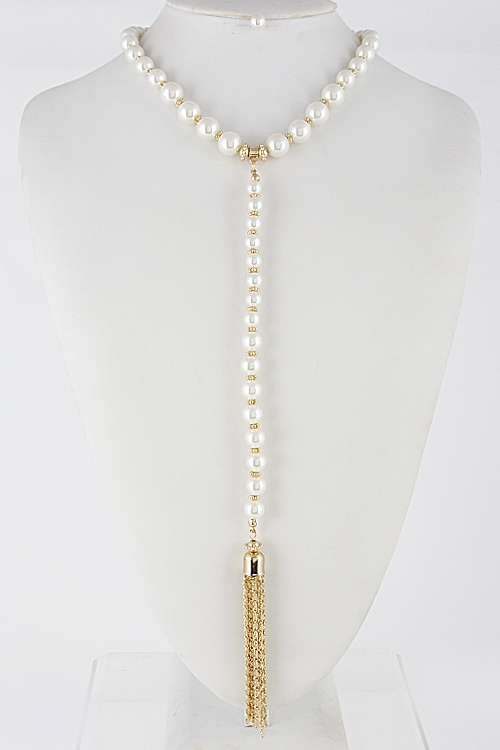 Faux Pearl Choker Necklace - orangeshine.com