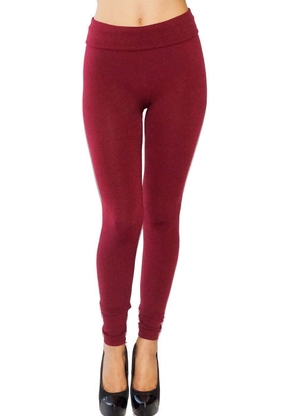 BURGUNDY SOLID LEGGINGS PLUS - orangeshine.com