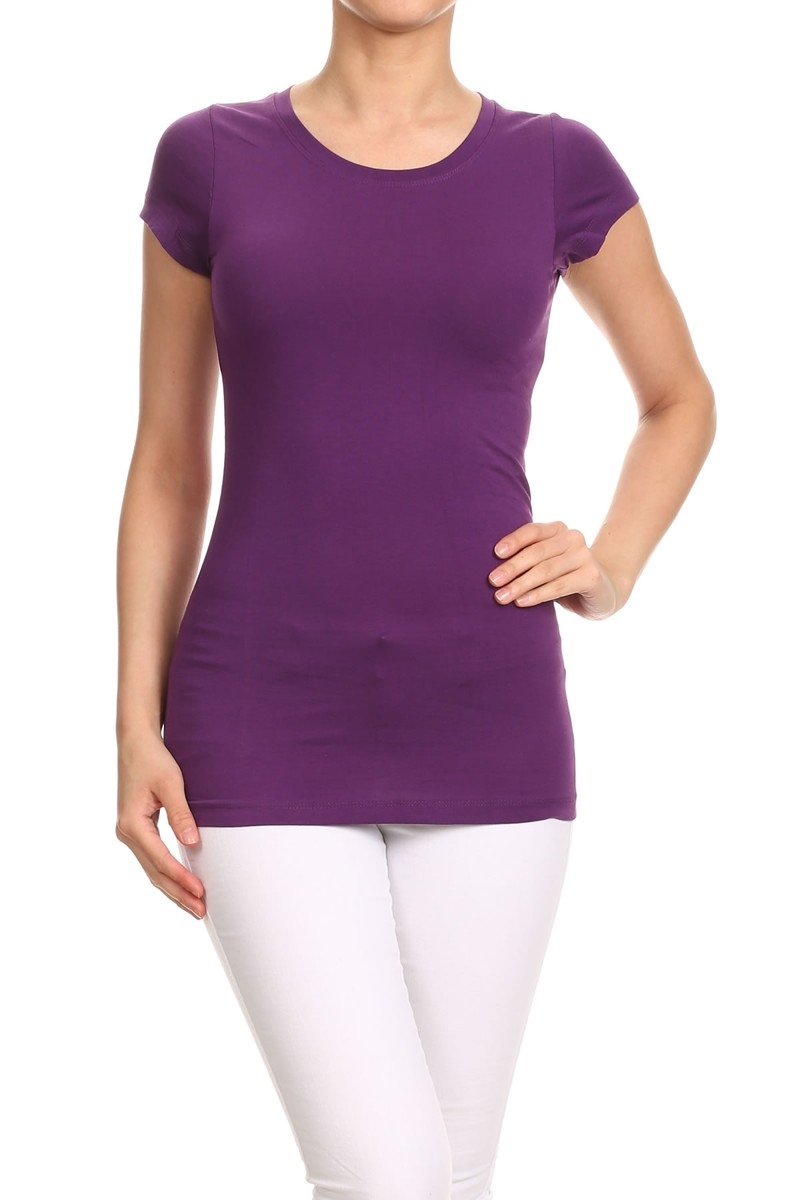 BASIC T-SHIRTS T-001-PURPLE - orangeshine.com
