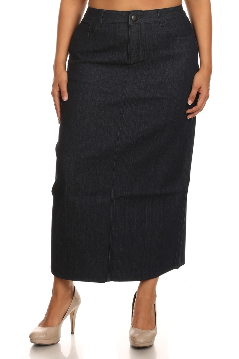PLUS SIZE DENIM SKIRT LSB-3720 - orangeshine.com