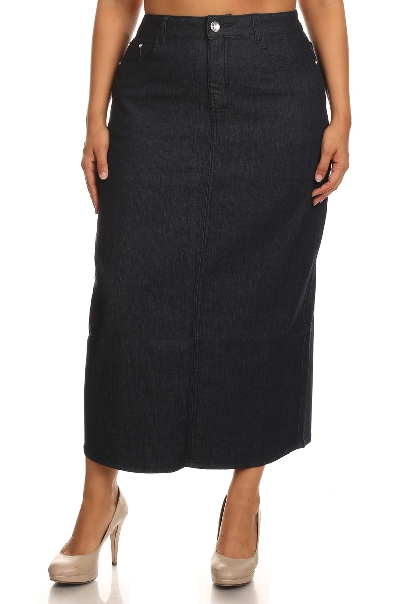 PLUS SIZE DENIM SKIRT LSB-3722 - orangeshine.com