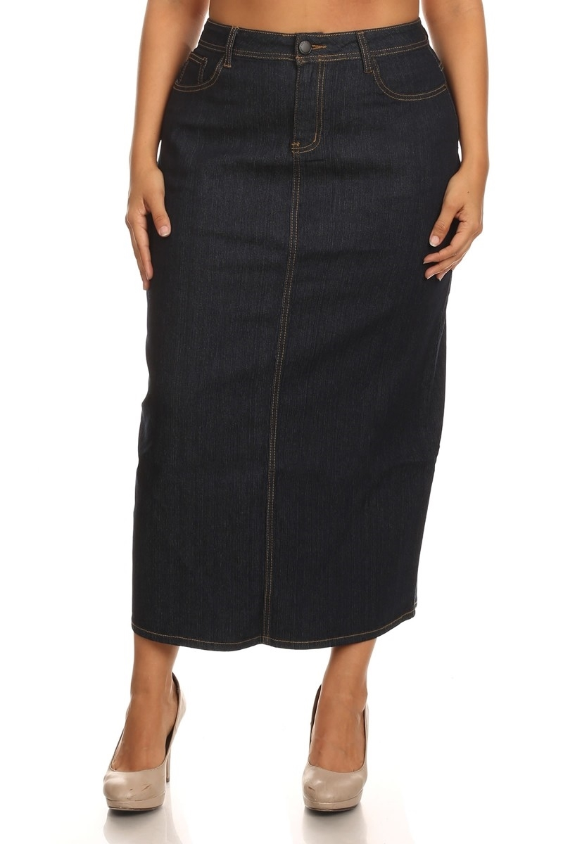 PLUS SIZE DENIM SKIRT LSB-3723 - orangeshine.com