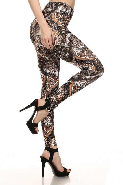 Damask Print Leggings Floral - orangeshine.com