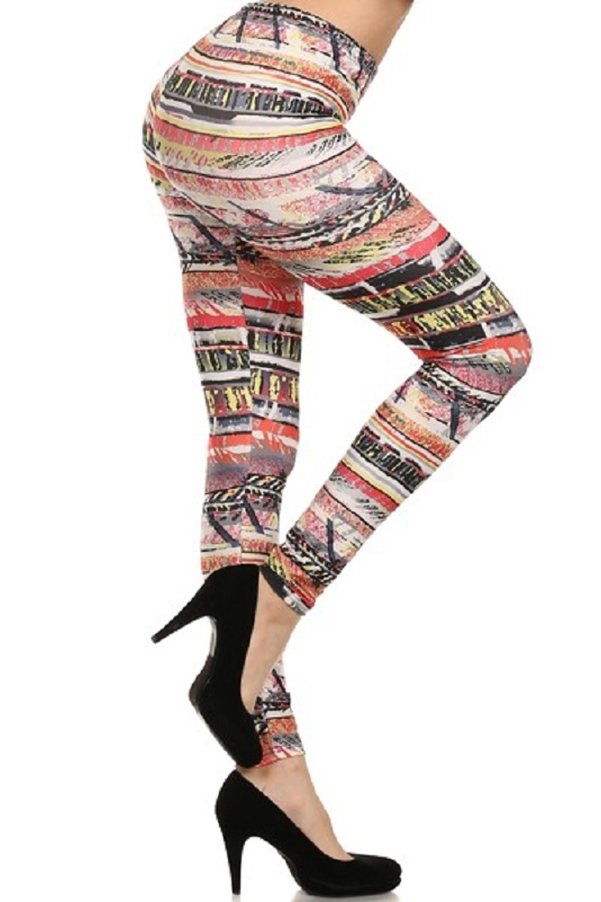 Tribal border Print Leggings  - orangeshine.com